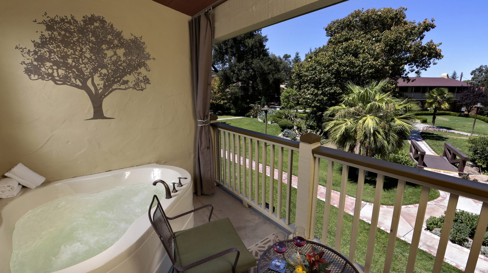 Private Mineral Spa on Balcony overlooking Paso Robles Inn Gardens