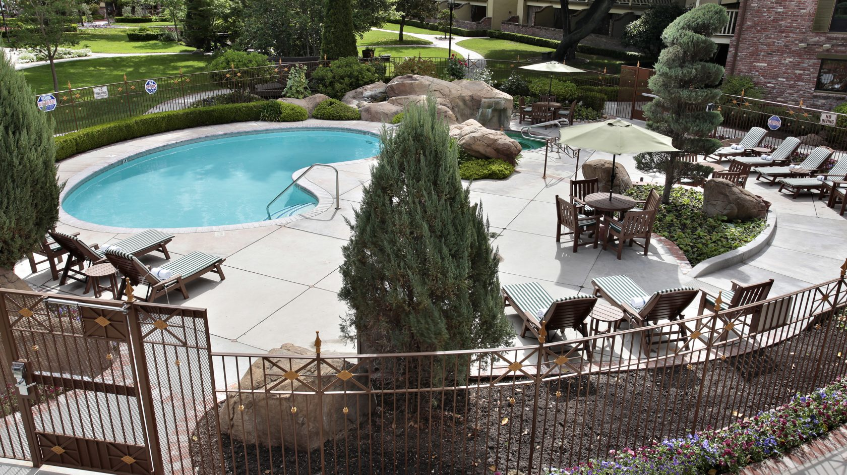 Fisheye View of Paso Robles Inn Pool and Lounge Area 2