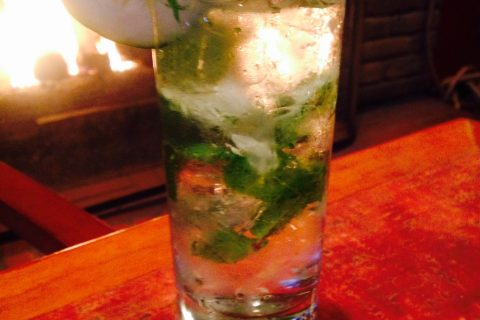 Cucumber Mojito by the Fireplace at Paso Robles Inn Steakhouse
