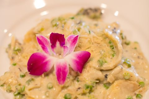 Close up of gourmet pasta from Paso Robles Inn Steakhouse