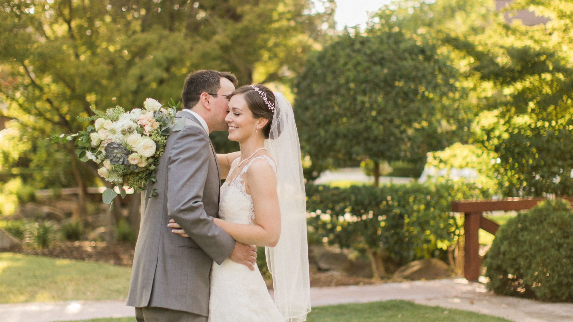 Bride and groom at Paso Robles Inn wedding venue