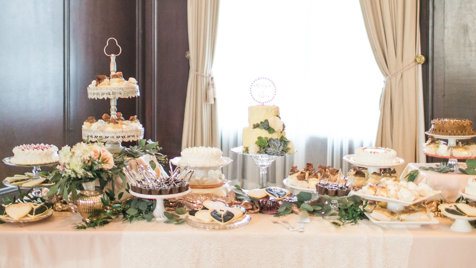 wedding dessert table at Paso Robles Inn wedding venue