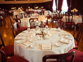 Elegant table setting in Paso Robles Inn Ballroom